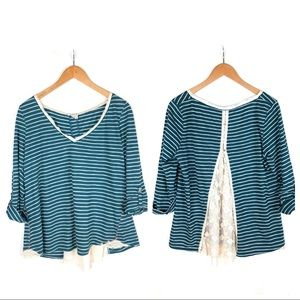 Anthro Meadow Rue teal stripe lace back Cassia top